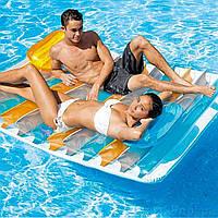 Надувной матрас-плот Intex 56897, 198*160 см, две подушки, два подстаканника