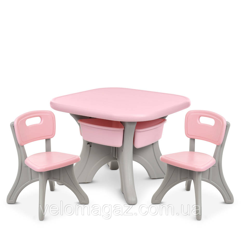 Детский пластиковый столик NEW TABLE-8, 2 стульчика, 4 ящика, серо-розовый