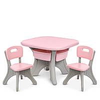 Детский пластиковый столик NEW TABLE-8, 2 стульчика, 4 ящика, серо-розовый, фото 1