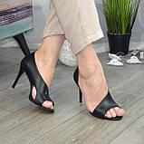 Босоножки женские кожаные на шпильке, цвет черный, фото 7