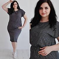 Женское платье-туника в полоску,черно-белое, из штапеля, размеры 50,52,54,56, от производителя
