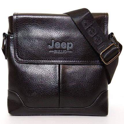 Мужская сумка через плечо Jeep. Черная. 21см х 19см / Кожа PU, фото 2