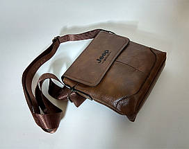 Мужская сумка через плечо Jeep. Коричневая. 21см х 19см / Кожа PU. 555 brown, фото 3