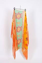 Парео пляжное оранжевый цвет с черепашками Арин
