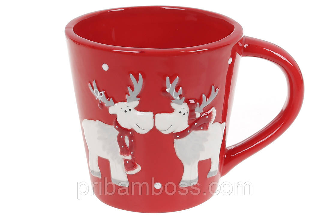 Кружка керамічна Братці олені, 500мл, колір - червоний