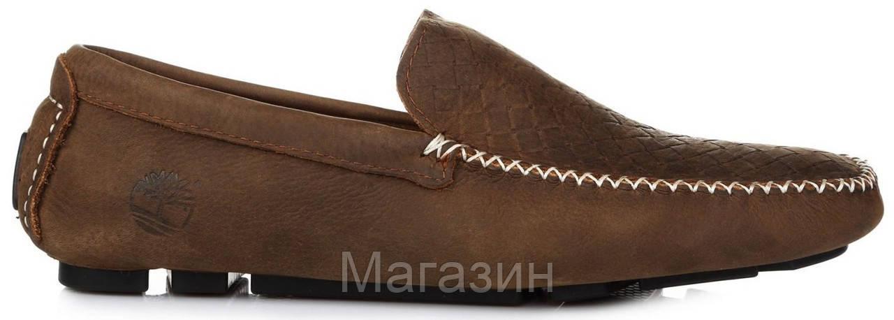 Мужские кожаные мокасины Timberland Twist Moccasin Brown Тимберленд коричневые