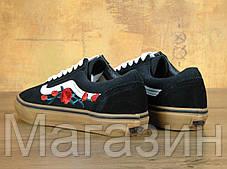 Мужские кеды Vans Old Skool Rose Black Gum Ванс Олд Скул черные с розами, фото 3