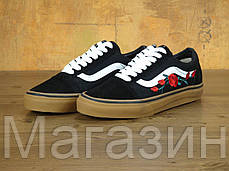 Женские кеды Vans Old Skool Rose Black Ванс Олд Скул черные с розами, фото 2