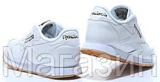 Мужские кроссовки Reebok Classic Leather White (Рибок Классик) белые, фото 3