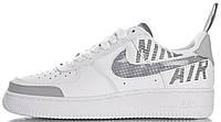 Мужские кроссовки Nike Air Force 1 Low Under Construction White Найк Аир Форс низкие кожаные белые