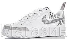 Мужские кроссовки Nike Air Force 1 Low Under Construction White Найк Аир Форс низкие кожаные белые, фото 2