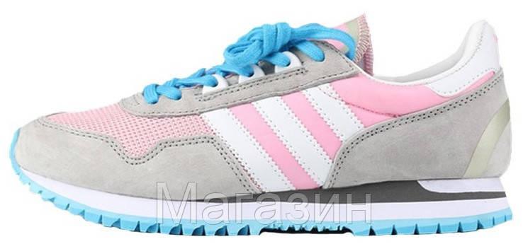 Женские кроссовки Adidas Originals ZX400 Grey Pink (Адидас ZX) серые