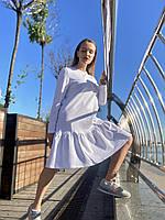 Платье женское  мини с волнаном внизу свободного кроя повседневное базовое  хлопковое двунитка белое S
