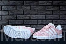 Женские кроссовки Adidas Gazelle Pink/White (Адидас Газели) розовые, фото 3