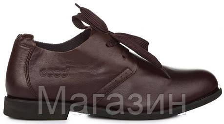 Мужские кожаные туфли ECCO Derby Brown (Экко) коричневые, фото 2