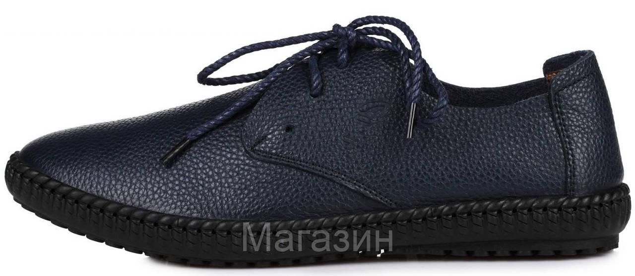 Мужские кожаные мокасины Clarks Casual Sneakers Blue (Кларкс) синие