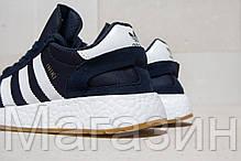 Мужские спортивные кроссовки Adidas Iniki Runner Boost Navy (Адидас Иники) синие, фото 2