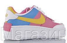 Женские кроссовки Nike Air Force 1 Low Shadow White Peach Black Hайк Аир Форс низкие белые разноцветные, фото 3