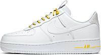 Женские кроссовки Nike Air Force 1 Low Lux White Yellow Найк Аир Форс низкие кожаные белые