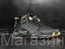Мужские кроссовки ACRONYM x Nike Air Huarache CITY MID LEA Найк Аир Хуарачи Акроним черные, фото 3