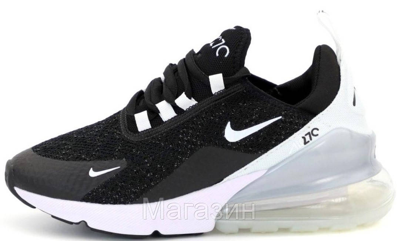 Женские кроссовки Nike Air Max 270 Black/White (Найк Аир Макс 270) черные с белым