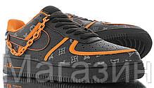 Мужские кроссовки Nike Air Force 1 Monogram Chain 2020 Найк Аир Форс 1 черные, фото 3