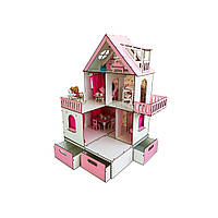 Ляльковий будиночок «Сонячна Дача» + меблі + текстиль + BOX Fana