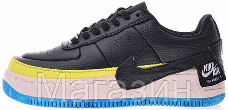 "Женские кроссовки Nike Air Force 1 Jester XX SE ""Black-Sonic Yellow"" Найк Аир Форс черные, фото 2"