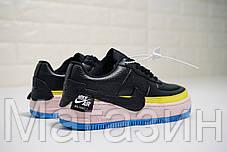 "Женские кроссовки Nike Air Force 1 Jester XX SE ""Black-Sonic Yellow"" Найк Аир Форс черные, фото 3"