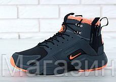 Мужские зимние кроссовки ACRONYM x Nike Huarache City Winter Найк Аир Хуарачи Акроним С МЕХОМ черные, фото 2