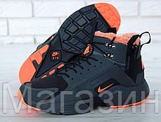 Мужские зимние кроссовки ACRONYM x Nike Huarache City Winter Найк Аир Хуарачи Акроним С МЕХОМ черные, фото 3