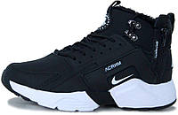 Мужские зимние кроссовки ACRONYM x Nike Huarache City Winter Black/White Найк Хуарачи Акроним С МЕХОМ черные