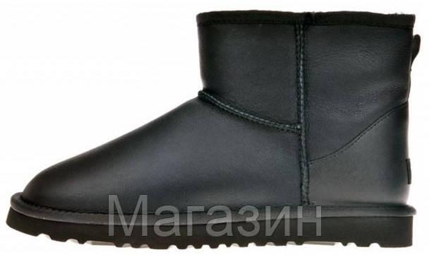 Женские угги UGG Australia Classic Mini Leather Black мини оригинальные Угги Австралия черные