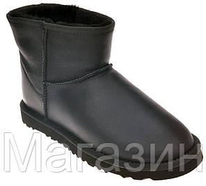 Женские угги UGG Australia Classic Mini Leather Black мини оригинальные Угги Австралия черные, фото 2