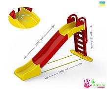 Гірка для катання дітей спуск 243 см червона Долони Doloni детская горка