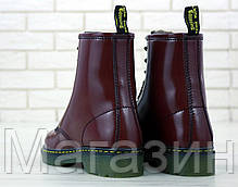 Зимние женские ботинки Dr. Martens 1460 Smooth VEGAN Bordo Доктор Мартинс бордовые С МЕХОМ, фото 2