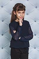Блуза школьная для девочки с рукавом сеткой