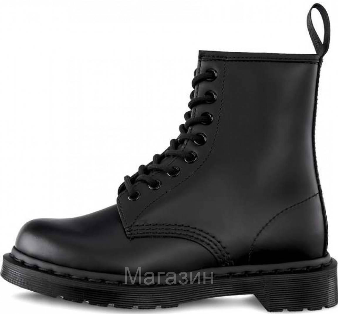 Женские зимние ботинки Dr. Martens 1460 Black Smooth VEGAN Fur Доктор Мартинс С МЕХОМ черные