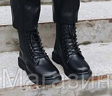 Женские зимние ботинки Dr. Martens 1460 Black Smooth VEGAN Fur Доктор Мартинс С МЕХОМ черные, фото 3