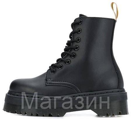 Зимние женские ботинки Dr. Martens Jadon FUR Mono Black Доктор Мартинс Жадон черные С МЕХОМ, фото 2