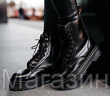 Зимние женские ботинки Dr. Martens Jadon FUR Mono Black Доктор Мартинс Жадон черные С МЕХОМ, фото 3
