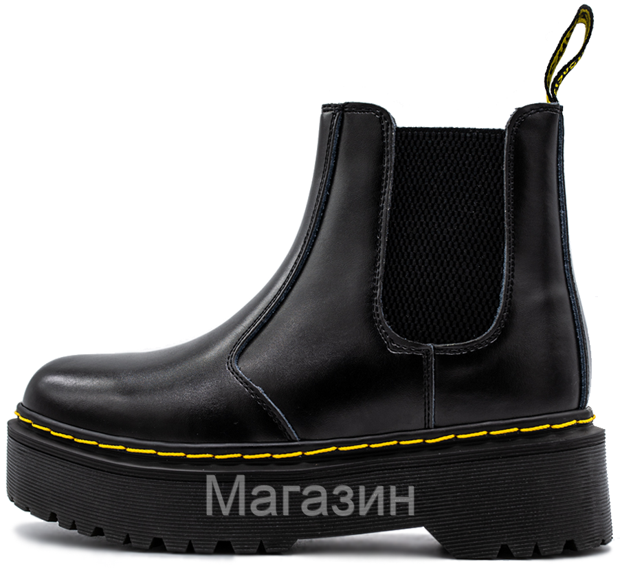 Зимние женские ботинки Dr. Martens Platform Chelsea Boot Black Доктор Мартинс Челси черные С МЕХОМ