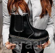 Зимние женские ботинки Dr. Martens Platform Chelsea Boot Black Доктор Мартинс Челси черные С МЕХОМ, фото 3
