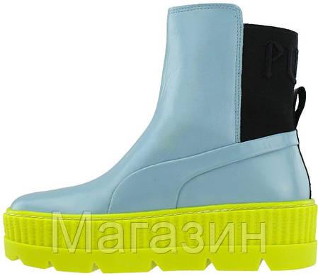 Женские кроссовки ботинки Puma Chelsea Sneaker Boot Fenty Rihanna Blue высокие Пума Фенти голубые, фото 2