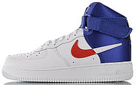 Мужские кроссовки Nike Air Force High NBA Clippers White/Blue высокие Найк Аир Форс НБА белые с синим