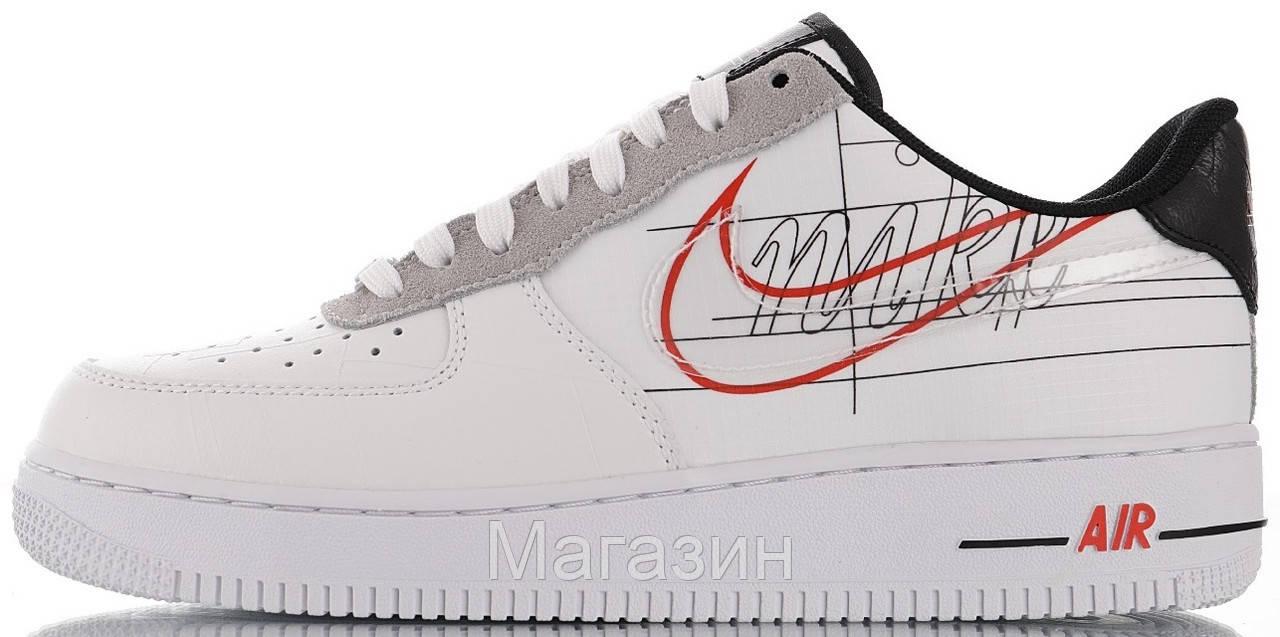 Женские кроссовки Nike Air Force 1 Low Script Swoosh White Найк Аир Форс низкие кожаные белые