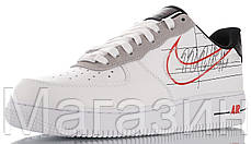 Женские кроссовки Nike Air Force 1 Low Script Swoosh White Найк Аир Форс низкие кожаные белые, фото 3