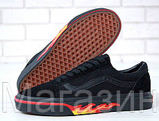Мужские кеды Vans Old Skool 2020 Black Flame Fire (Ванс Олд Скул) черные с огнем, фото 2