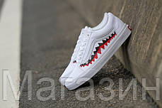 Женские кеды BAPE x Vans Old Skool Shark Mouths White 2020 (Ванс Олд Скул) белые, фото 2