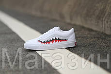 Женские кеды BAPE x Vans Old Skool Shark Mouths White 2020 (Ванс Олд Скул) белые, фото 3